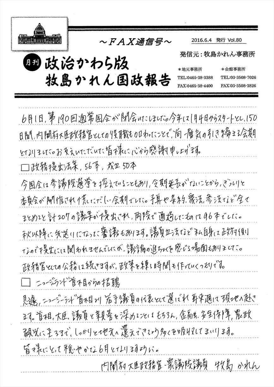 牧島かれん 政治かわら版6月号 Vol.80
