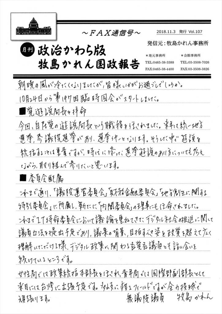 牧島かれん 政治かわら版11月号 Vol.107