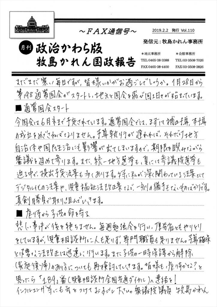牧島かれん 政治かわら版2月号 Vol.110