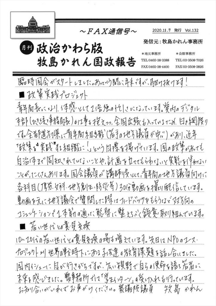 牧島かれん 政治かわら版11月号Vol.132